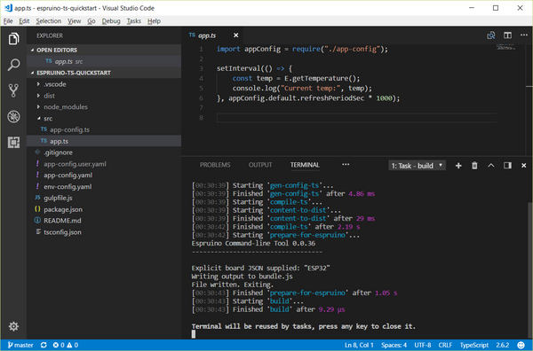 Typescript and Visual Studio Code IDE - Espruino